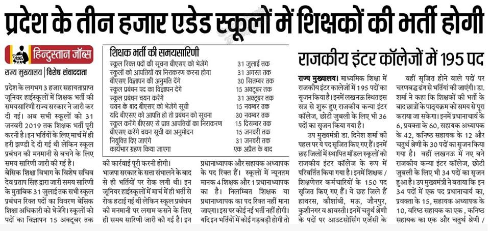 UP Aided Junior High School Vacancy Latest News in Hindi